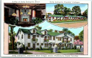 Walterboro, South Carolina Postcard LADY LAFAYETTE HOTEL 3 Views Tichnor Linen
