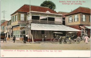 Burke's Hotel Kingston Jamaica Earthquake Destruction 1907 Unused Postcard E72
