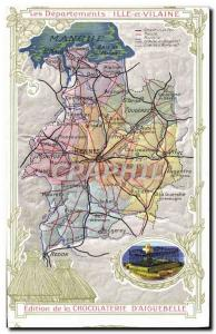 Postcard Old MAPS Chocolaterie d & # 39Aiguebelle Ille et Vilaine Chateaubriand