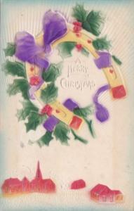 Christmas Horseshoe and Holly 1909
