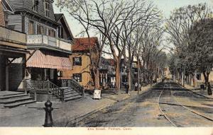 Putnam Connecticut~Trolley Track Down Elm Street~Boot Repairing~Homes~1908