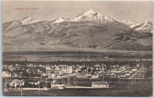 Livingston, Montana Postcard Bird's-Eye Town & Mtn View  Panorama c1910s Unused