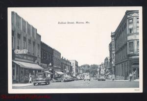 MACON MISSOURI DOWNTOWN ROLLINS STREET SCENE 1940's CARS VINTAGE POSTCARD
