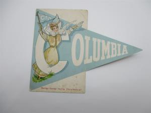 Folding Pennant Postcard, Hurray Columbia College Girl Series Vintage L10