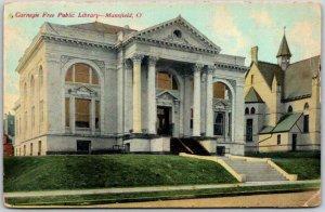 Mansfield Ohio Postcard Carnegie Free Public Library Building View 1919 Cancel