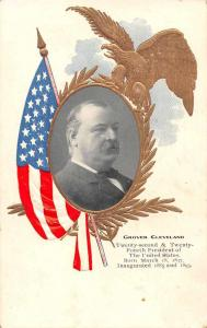 President Grover Cleveland Patriotic Eagle and Flag Antique Postcard J56523