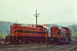 Two BATH & HAMMONDSPORT RR locomotives in yard at Hammondsport, N. Y. MAY 1971