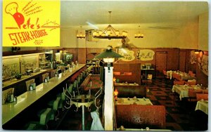 Eureka CA Postcard PETE'S STEAK HOUSE Restaurant Hwy 101 Roadside c1960s Unused