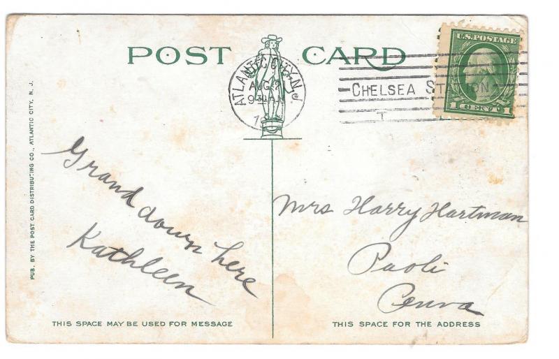 Atlantic City NJ 1914  Hotel Rudolf from Garden Pier at Night Vintage Postcard