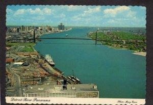 MI View Detroit River Michigan Ambassador Bridge Postcard