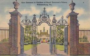 Gate Entrance To Gardens Of Royal Governor's Palace Williamsburg Virginia 1945