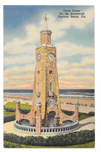 FL Daytona Beach Clock Tower Boardwalk Linen Postcard