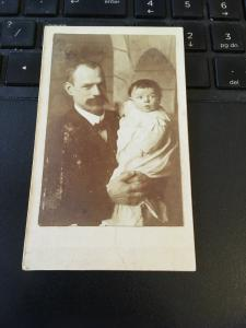 Vintage Cabinet Card Photo - Late 1800s Mustache Man and Baby