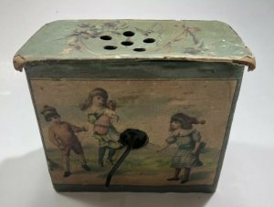Antique Music Box Childs Musical Toy Cardboard Litho Works RARE SHIPS FREE IN US