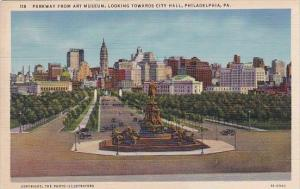Parkway From Art Museum Looking Towards City Hall Philadelphia Pennsylvania