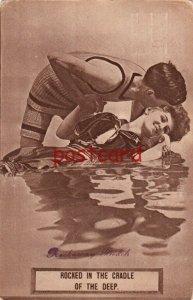 1910 ROCKAWAY BEACH Rocked in the Cradle of the Deep. Woman/Man Romancing Water