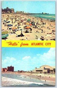 Postcard 1960's Atlantic City N.J. Beach Banner View  P5
