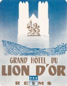 France Reims Grand Hotel Du Lion D'Or Vintage Luggage Label sk1134