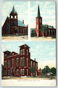 Tiffin Ohio~First Baptist-Evangelical German-English Lutheran Churches~c1910 PC