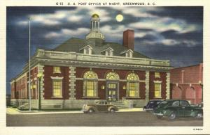 Greenwood, S.C., U.S. Post Office at Night with Cars (1940s)