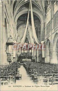Old Postcard Alencon Interior of the Church of Our Lady