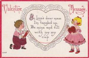 Valentine's Day With Young Boy and Girle With Yarn 1909