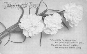 Mothers Day~White Carnation Flowers~Thanking God Today~Embossed~1910 Postcard