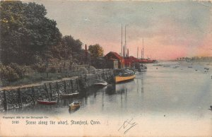 Scene Along the Wharf, Stamford, Connecticut, Hand Colored 1906 Postcard, Used