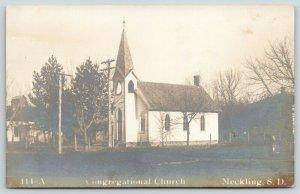 Meckling South Dakota~Congregational Church~Neighborhood~Dirt Road~1908 RPPC