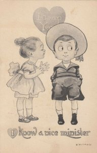 LEAP YEAR, PU-1912; I know a nice minister Little girl attempting to kiss boy