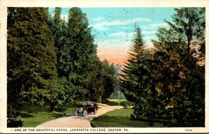 Pennsylvania Easton Lafayette College One Of The Beautiful Paths 1927