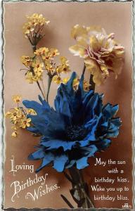 Loving Birthday Wishes! flowers bouquet, Primula vulgaris, real photograph