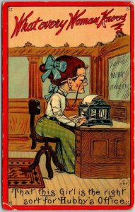 Vintage 1914 Comic Greetings Postcard What Every Woman Knows Hubby's Office
