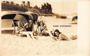 BOCA RATON, FLORIDA, BATHING BEAUTIES FROM THE 40'S RPPC REAL PHOTO POSTCARD