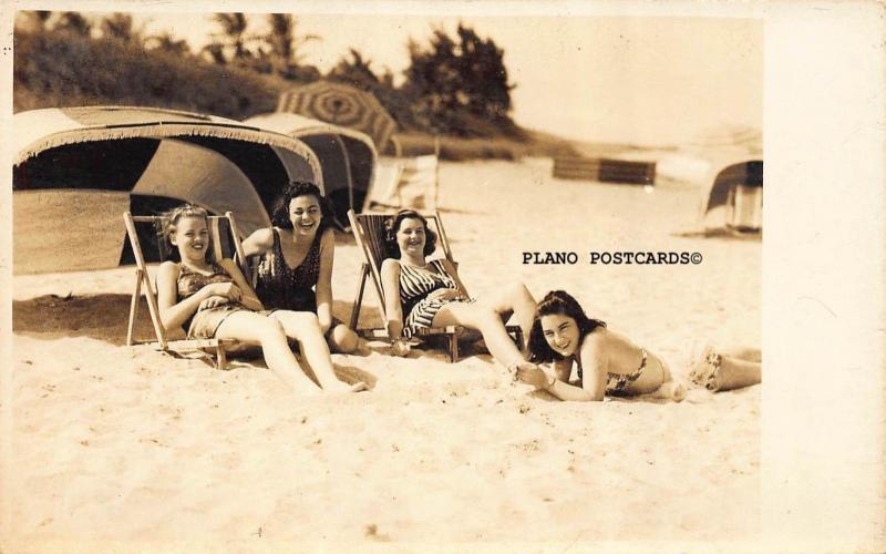 BOCA RATON, FLORIDA, BATHING BEAUTIES FROM THE 40'S RPPC REAL PHOTO POSTCARD