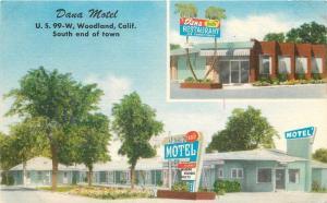 Dana Motel roadside Woodland California 1940s Postcard Shedd Brown 13213