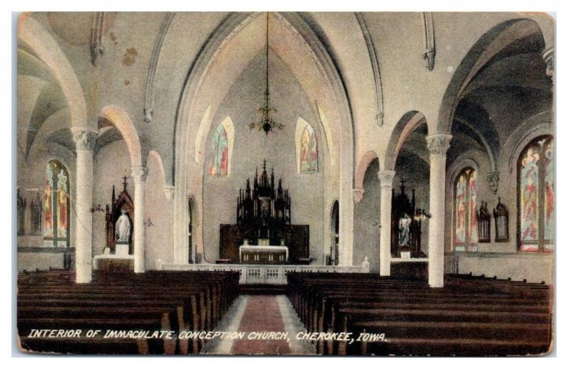 1911 Interior, Immaculate Conception Church, Cherokee, IA Postcard