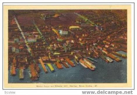 Aerial View, Waterfront and Citadel Hill, Halifax, Nova Scotia, Canada, 20-40s