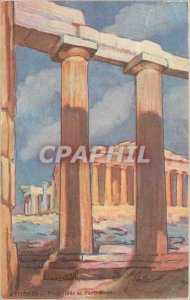 Old Postcard Propylees Athens and Parthenon