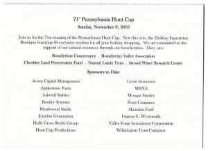 Pennsylvania Hunt Cup 2005 Fundraising Drive Card Horses