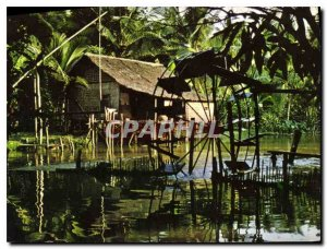 Postcard Modern World Angkor Cambodian House on stilts with its paddle wheel ...