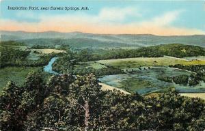 Eureka Springs Arkansas~Inspiration Point~Waters & Fields Below~1940s Postcard