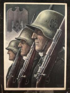 1943 Feldpost Germany Patriotic Postcard cover Infantry Wehrmacht WW2