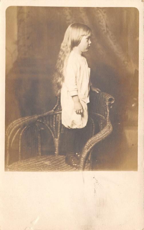 Real Photo Postcard~Lil Girl~Victorian Wicker Chair~Profile~Hair to Waist~c1912