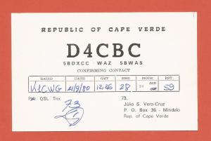 QSL AMATEUR RADIO CARD – MINDELO, REPUBLIC OF CAPE VERDE – 1981