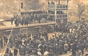 Hartwick NY Night Lunch Large Crowd Roof Top Speaker 1909 RPPC Postcard