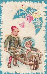 Boy pushing wheel barrel with girl wearing bonnet, Roses, Crescent moon, 1900-10
