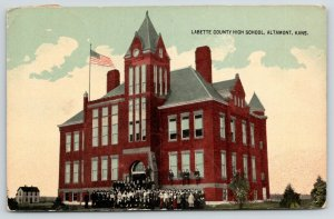 Altamont Kansas~Labette County High School~All Students in Front~1918 Postcard