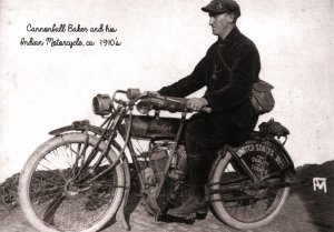 Cannonball Baker & His Indian Motorcycle ca. 1910's  (5.75 X 4 Photo Repr...