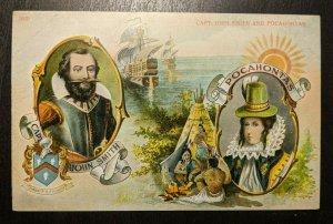 Ungebraucht Vintage Captain John Smith Und Pocahontas Expo Illustriert Postkarte